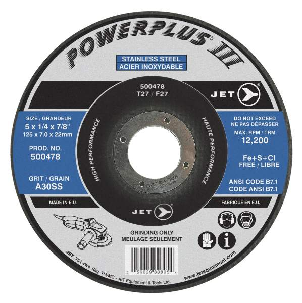 "JET 5"" X 1/4"" X 7/8 A30SS Powerplus III T27 Grinding Wheel"