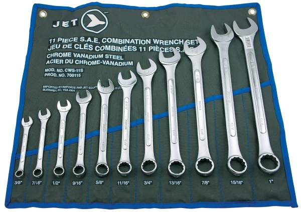 JET CWS-11S - 11 PC SAE Raised Panel Combo Wrench Set