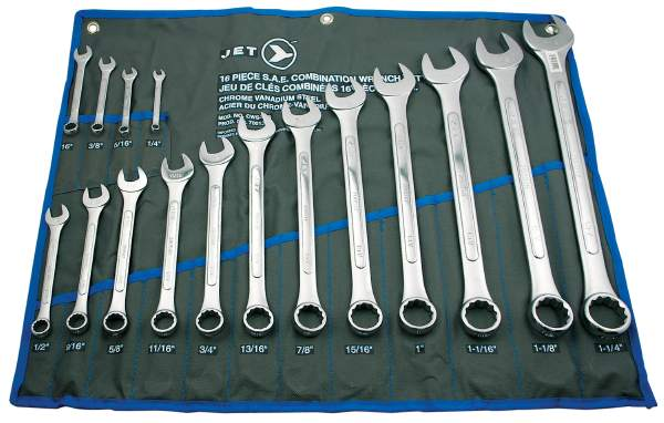 JET CWS-16S - 16 PC SAE Raised Panel Combo Wrench Set