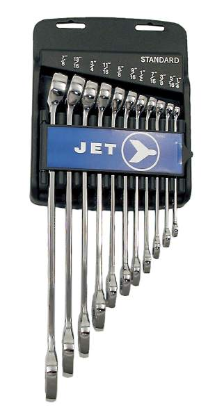 JET LCWS- 11 PC Long SAE Fully Polished Combo Wrench Set
