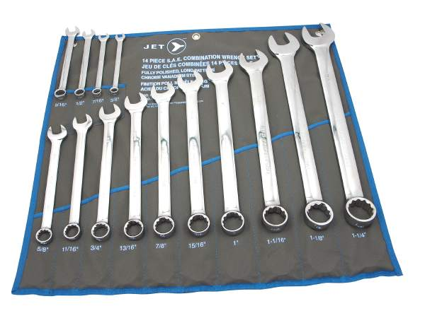 JET LCWS- 14 PC Long SAE Fully Polished Combo Wrench Set