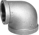 "1 X 3/4"" NPT 90 Deg Reducer Elbow - Mall. Iron Pipe Fitting – Bl"