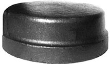 "1/8"" NPT Pipe Cap - Mall. Iron Pipe Fitting – Black"
