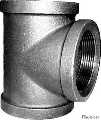 "1/8"" NPT Tee - Mall. Iron Pipe Fitting – Black"