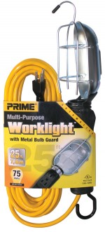 25ft. 16/3 SJT Yellow Work Light w/ Metal Guard