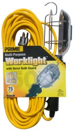 50ft. 16/3 SJTW Yellow Work Light w/ Metal Guard