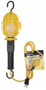 6ft. 16/3 SJT 75 Watt Yellow Work Light w/Plastic Guard & Outle