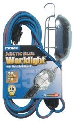 25ft. 16/3 SJEOW Blue/Orange Work Light w/ Metal Guard & Conven