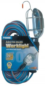 50ft. 16/3 SJEOW Blue/Orange Work Light w/ Metal Guard & Conven