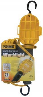 15ft. 18/2 SJT Yellow Work Light w/ Plastic Guard