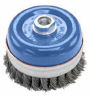 "J. Walter 5"" X 5/8-11 Wire Cup Brush - Knot-Twisted stainless w"